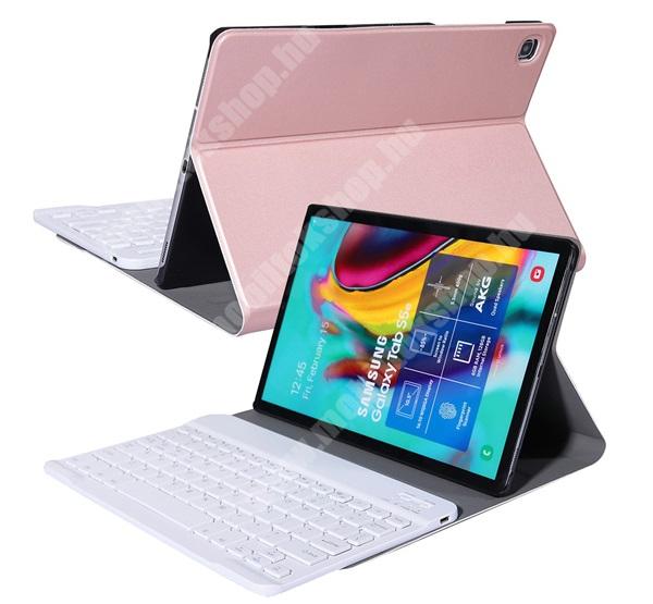 Notesz / mappa tok - ROSE GOLD - oldalra nyíló, mágneses záródás, asztali tartó funkció, kivehető bluetooth billentyűzet (ANGOL KIOSZTÁSÚ!) - SAMSUNG SM-P610 Galaxy Tab S6 Lite (Wi-Fi) / SAMSUNG SM-P615 Galaxy Tab S6 Lite (LTE)