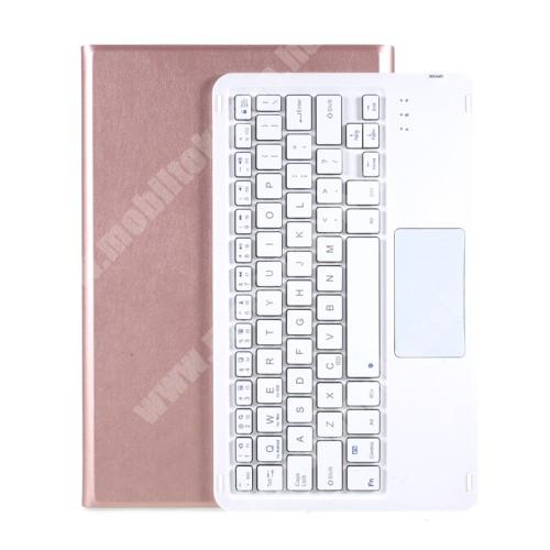 Notesz / mappa tok - ROSE GOLD - oldalra nyíló, mágneses záródás, asztali tartó funkció, TOUCHPAD, kivehető bluetooth billentyűzet (ANGOL KIOSZTÁSÚ!) - LENOVO Tab P11 (TB-J606F)