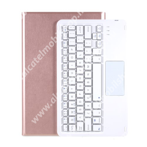 Notesz / mappa tok - ROSE GOLD - oldalra nyíló, mágneses záródás, asztali tartó funkció, TOUCHPAD, kivehető bluetooth billentyűzet (ANGOL KIOSZTÁSÚ!) - LENOVO Tab P11 (TB-J606F) / Tab P11 Plus / Pad (ZA7R0232CN)