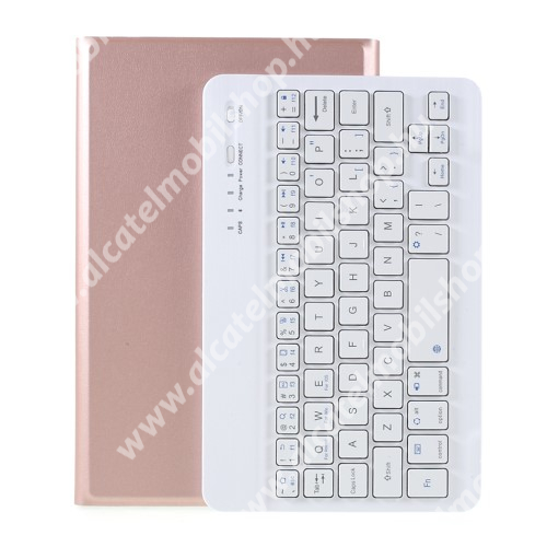 Notesz / mappa tok - ROSE GOLD - oldalra nyíló, mágneses záródás, asztali tartó funkció, szilikon belső, kivehető bluetooth billentyűzet (ANGOL KIOSZTÁSÚ!) - SAMSUNG Galaxy Tab A7 Lite (SM-T220 / SM-T225)