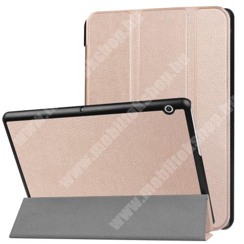 Notesz / mappa tok - ROSE GOLD - oldalra nyíló flip cover, TRIFOLD asztali tartó funkciós, mágneses záródás - HUAWEI MediaPad T3 10