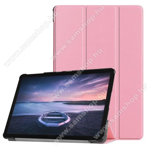 Notesz / mappa tok - RÓZSASZÍN - oldalra nyíló flip cover, TRIFOLD asztali tartó funkciós, mágneses záródás, műanyag belső - SAMSUNG SM-T830 Galaxy Tab S4 10.5 (Wi-Fi) / SAMSUNG SM-T835 Galaxy Tab S4 10.5 (LTE)
