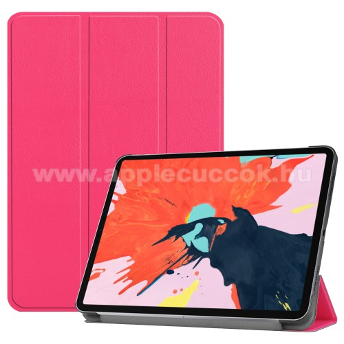 Notesz / mappa tok - RÓZSASZÍN - oldalra nyíló flip cover, TRIFOLD asztali tartó funkciós, mágneses záródás - APPLE iPad Pro 12.9 (2018)