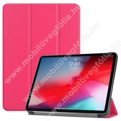 Notesz / mappa tok - RÓZSASZÍN - oldalra nyíló flip cover, TRIFOLD asztali tartó funkciós, mágneses záródás - APPLE iPad Pro 11 (2018)