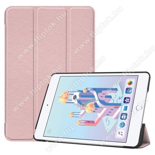 Notesz / mappa tok - RÓZSASZÍN - oldalra nyíló flip cover, TRIFOLD asztali tartó funkciós, mágneses záródás, műanyag belső - Apple iPad mini (2019)