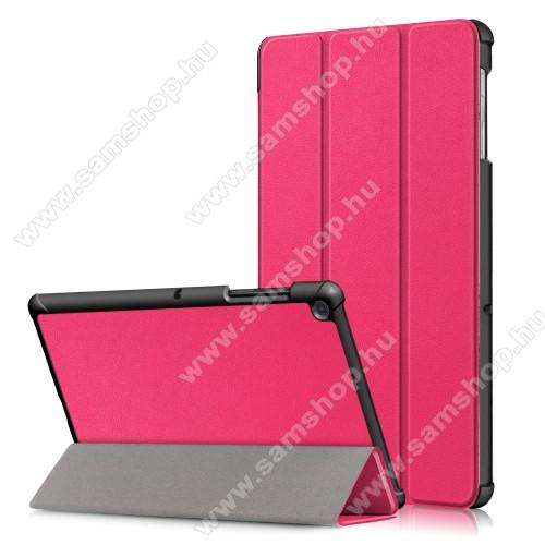 Notesz / mappa tok - RÓZSASZÍN - oldalra nyíló flip cover, TRIFOLD asztali tartó funkciós, erősített sarkok, mágneses záródás, műanyag belső - SAMSUNG SM-T725 Galaxy Tab S5e 10.5 LTE / SAMSUNG SM-T720 Galaxy Tab S5e 10.5 Wi-Fi