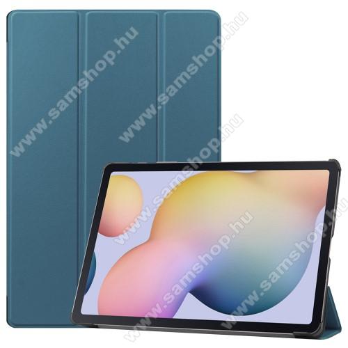 SAMSUNG Galaxy Tab S7 Plus (SM-T970/T976B)Notesz / mappa tok - SÖTÉT ZÖLD - oldalra nyíló flip cover, TRIFOLD asztali tartó funkciós, erősített sarkok, műanyag belső - SAMSUNG Galaxy Tab S7 Plus (SM-T970/T976B)