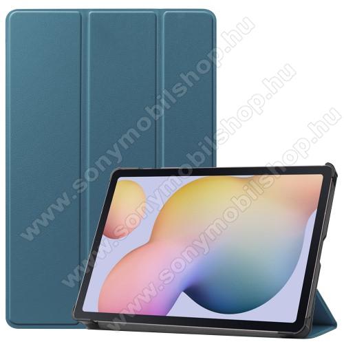 Notesz / mappa tok - SÖTÉT ZÖLD - oldalra nyíló flip cover, TRIFOLD asztali tartó funkciós, erősített sarkok, műanyag belső - SAMSUNG Galaxy Tab S7 (SM-T870/T875/T876B)