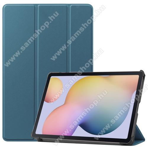 SAMSUNG Galaxy Tab S7 (SM-T870/T875/T876B)Notesz / mappa tok - SÖTÉT ZÖLD - oldalra nyíló flip cover, TRIFOLD asztali tartó funkciós, erősített sarkok, műanyag belső - SAMSUNG Galaxy Tab S7 (SM-T870/T875/T876B)