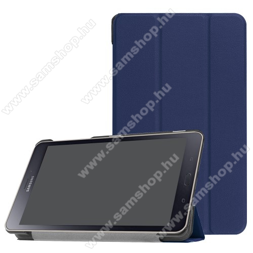 Notesz / mappa tok - SÖTÉTKÉK - oldalra nyíló flip cover, TRIFOLD asztali tartó funkciós, mágneses záródás - SAMSUNG SM-T380 Galaxy Tab A 8.0 (2017) / SAMSUNG SM-T385 Galaxy Tab A 8.0 (2017) (4G/LTE)