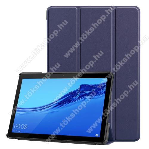 Notesz / mappa tok - SÖTÉTKÉK - oldalra nyíló flip cover, TRIFOLD asztali tartó funkciós, mágneses záródás - HUAWEI MediaPad T5 10
