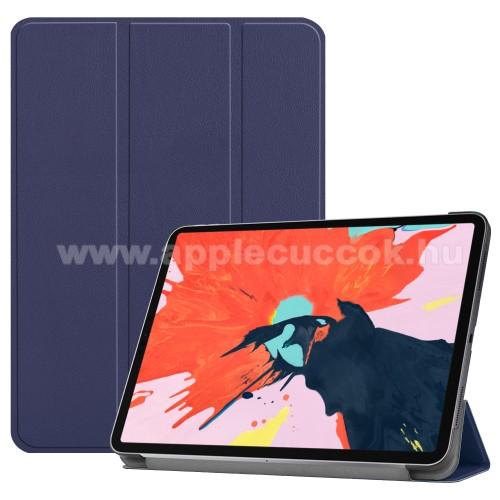 Notesz / mappa tok - SÖTÉTKÉK - oldalra nyíló flip cover, TRIFOLD asztali tartó funkciós, mágneses záródás - APPLE iPad Pro 12.9 (2018)