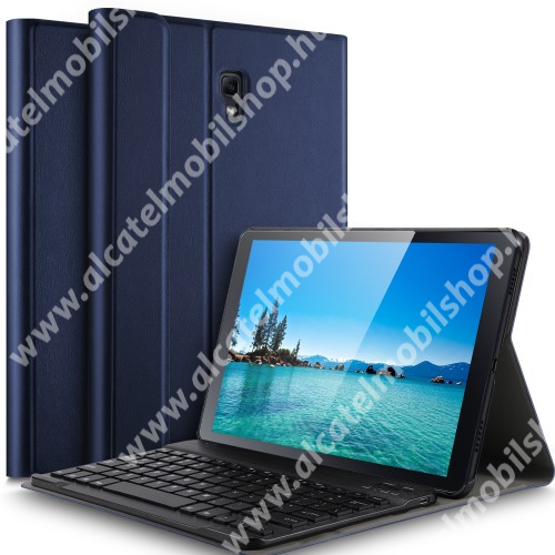 Notesz / mappa tok - SÖTÉTKÉK - oldalra nyíló, mágneses záródás, asztali tartó funkció, kivehető bluetooth billentyűzet (ANGOL KIOSZTÁSÚ!) - SAMSUNG SM-T590 Galaxy Tab A 10.5 Wi-Fi / SAMSUNG SM-T595 Galaxy Tab A 10.5 LTE