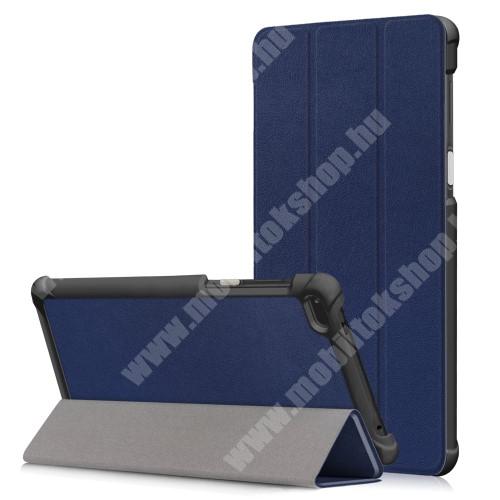 Notesz / mappa tok - SÖTÉTKÉK - oldalra nyíló flip cover, TRIFOLD asztali tartó funkciós, mágneses záródás - Lenovo Tab 7 Essential (2017) / Lenovo Tab 4 7 (TB-7304F)