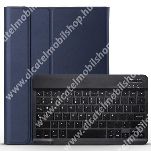 Notesz / mappa tok - SÖTÉTKÉK - oldalra nyíló, mágneses záródás, asztali tartó funkció, műanyag belső, kivehető bluetooth billentyűzet (ANGOL KIOSZTÁSÚ!) - APPLE iPad Pro 11 (2018)