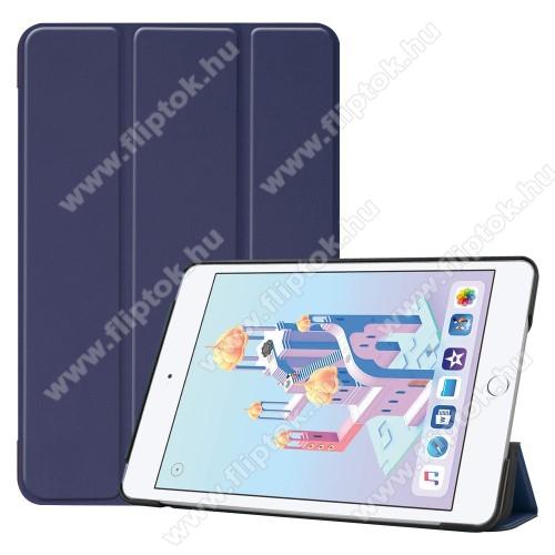Notesz / mappa tok - SÖTÉTKÉK - oldalra nyíló flip cover, TRIFOLD asztali tartó funkciós, mágneses záródás, műanyag belső - Apple iPad mini (2019)