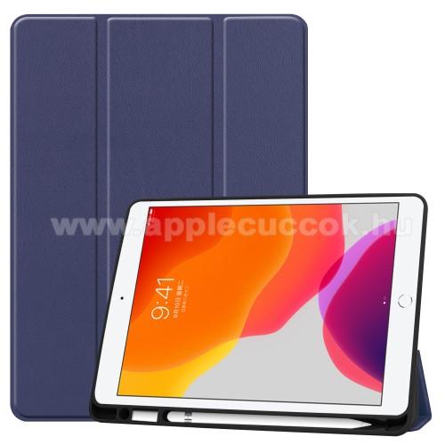 Notesz / mappa tok - SÖTÉTKÉK - oldalra nyíló flip cover, TRIFOLD asztali tartó funkciós, belső ceruzatartó, szilikon belső - APPLE iPad 10.2 (7th Generation)