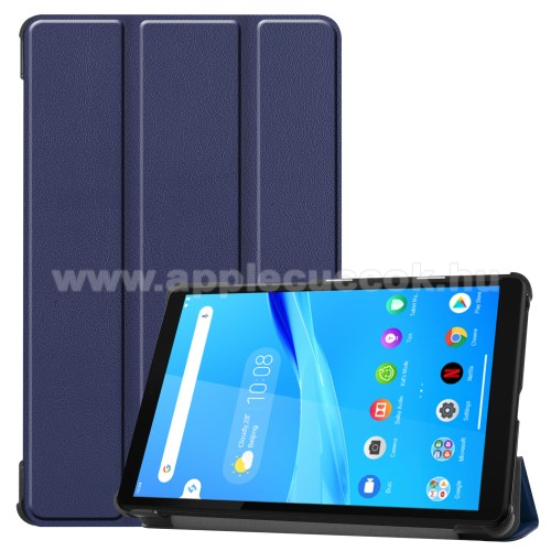 Notesz / mappa tok - SÖTÉTKÉK - oldalra nyíló flip cover, TRIFOLD asztali tartó funkciós, erősített sarkok, mágneses záródás, műanyag belső - Lenovo Tab M8 (HD) / Lenovo Tab M8 (FHD)