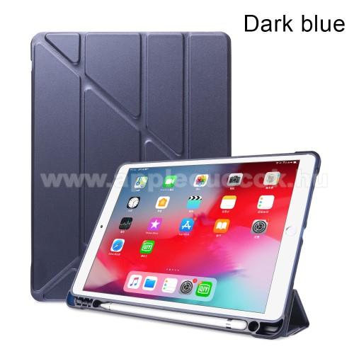 Notesz / mappa tok - SÖTÉTKÉK - oldalra nyíló flip cover, Origami asztali tartó funkciós, szilikon belső, ceruza tartó - APPLE iPad 10.2 (7th Generation) / APPLE iPad Air (2019) / APPLE iPad Pro 10.5 (2017)