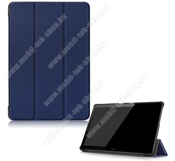 Notesz / mappa tok - SÖTÉTKÉK - oldalra nyíló flip cover, TRIFOLD asztali tartó funkciós, mágneses záródás, erősített sarkok, műanyag belső - HUAWEI MediaPad T5 10