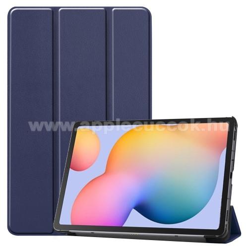 Notesz / mappa tok - SÖTÉTKÉK - oldalra nyíló flip cover, TRIFOLD asztali tartó funkciós, erősített sarkok, mágneses záródás, műanyag belső - SAMSUNG SM-P610 Galaxy Tab S6 Lite (Wi-Fi) / SAMSUNG SM-P615 Galaxy Tab S6 Lite (LTE)