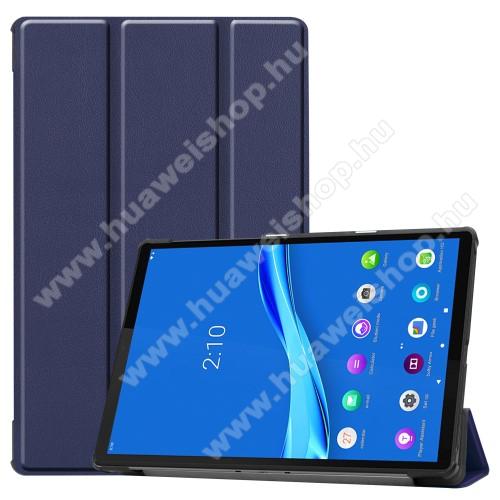 Notesz / mappa tok - SÖTÉTKÉK - oldalra nyíló flip cover, TRIFOLD asztali tartó funkciós, mágneses záródás, műanyag belső - Lenovo Tab M10 Plus (TB-X606F)