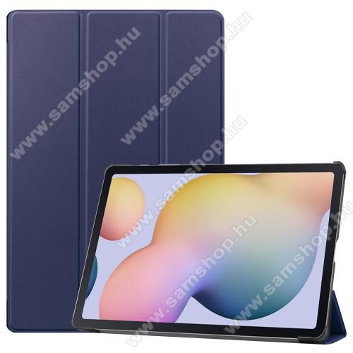 SAMSUNG Galaxy Tab S7 Plus (SM-T970/T976B)Notesz / mappa tok - SÖTÉTKÉK - oldalra nyíló flip cover, TRIFOLD asztali tartó funkciós, erősített sarkok, műanyag belső - SAMSUNG Galaxy Tab S7 Plus (SM-T970/T976B)