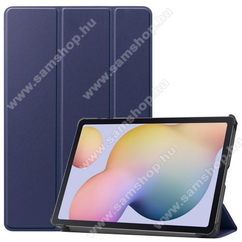 SAMSUNG Galaxy Tab S7 (SM-T870/T875/T876B)Notesz / mappa tok - SÖTÉTKÉK - oldalra nyíló flip cover, TRIFOLD asztali tartó funkciós, erősített sarkok, műanyag belső - SAMSUNG Galaxy Tab S7 (SM-T870/T875/T876B)