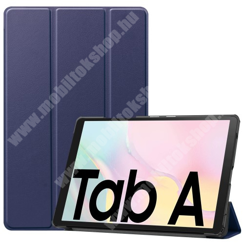 Notesz / mappa tok - SÖTÉTKÉK - oldalra nyíló flip cover, TRIFOLD asztali tartó funkciós, mágneses záródás, műanyag belső - SAMSUNG Galaxy Tab A7 10.4 (2020) (SM-T500/SM-T505)