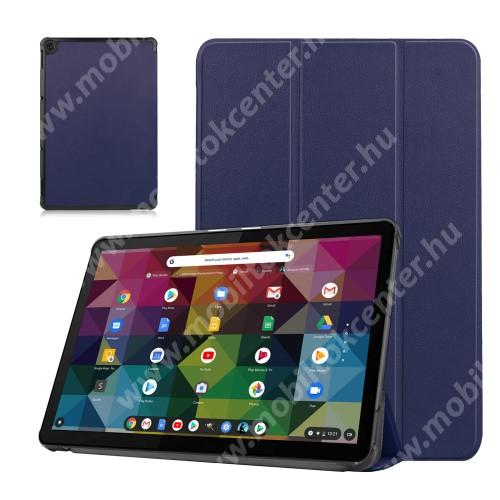 Notesz / mappa tok - SÖTÉTKÉK - oldalra nyíló flip cover, TRIFOLD asztali tartó funkciós, erősített sarkok, mágneses záródás, műanyag belső - Lenovo Duet Chromebook 10.1
