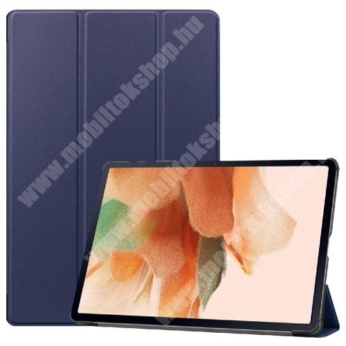 Notesz / mappa tok - SÖTÉTKÉK - oldalra nyíló flip cover, TRIFOLD asztali tartó funkciós, erősített sarkok, mágneses záródás, ceruzatartó, műanyag belső - SAMSUNG Galaxy Tab S7 FE (SM-T730) / Galaxy Tab S7 FE 5G (SM-T736)