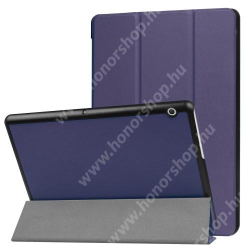 Notesz / mappa tok - SÖTÉTKÉK - oldalra nyíló flip cover, TRIFOLD asztali tartó funkciós, mágneses záródás - HUAWEI MediaPad T3 10