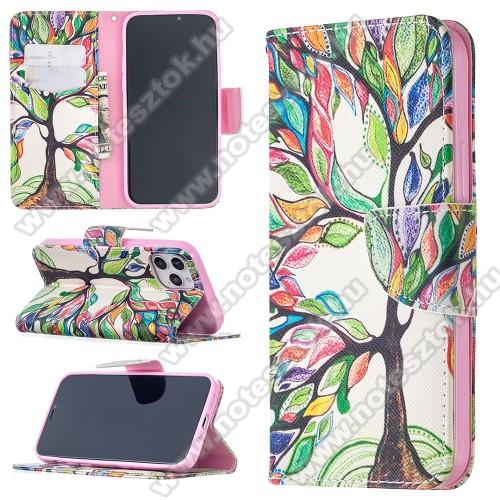 Notesz / mappa tok - SZÍNES FA MINTÁS - oldalra nyíló, rejtett mágneses záródás, belső zseb, asztali tartó funkció, szilikon belső - APPLE iPhone 12 / APPLE iPhone 12 Pro
