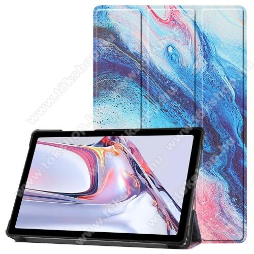 Notesz / mappa tok - SZÍNES MÁRVÁNY MINTÁS - oldalra nyíló flip cover, TRIFOLD asztali tartó funkció, mágneses záródás, műanyag belső - SAMSUNG Galaxy Tab A7 10.4 (2020) (SM-T500/SM-T505)