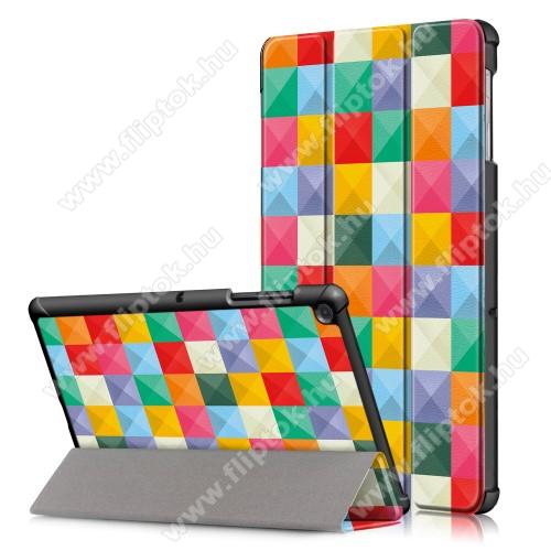 Notesz / mappa tok - SZÍNES NÉGYZET MINTÁS - oldalra nyíló flip cover, TRIFOLD asztali tartó funkció, mágneses záródás, erősített sarkok, műanyag belső - SAMSUNG SM-T725 Galaxy Tab S5e 10.5 LTE / SAMSUNG SM-T720 Galaxy Tab S5e 10.5 Wi-Fi