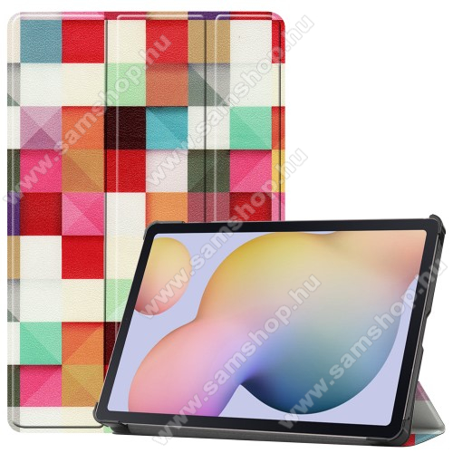 SAMSUNG Galaxy Tab S7 (SM-T870/T875/T876B)Notesz / mappa tok - SZÍNES NÉGYZET MINTÁS - oldalra nyíló flip cover, TRIFOLD asztali tartó funkció, műanyag belső, ERŐSÍTETT SARKOKKAL! - SAMSUNG Galaxy Tab S7 (SM-T870/T875/T876B)