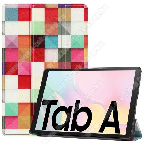 Notesz / mappa tok - SZÍNES NÉGYZET MINTÁS - oldalra nyíló flip cover, TRIFOLD asztali tartó funkció, mágneses záródás, műanyag belső - SAMSUNG Galaxy Tab A7 10.4 (2020) (SM-T500/SM-T505)