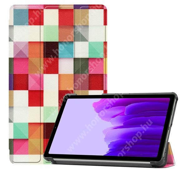 Notesz / mappa tok - SZÍNES NÉGYZET MINTÁS - oldalra nyíló flip cover, TRIFOLD asztali tartó funkció, mágneses záródás, műanyag belső - SAMSUNG Galaxy Tab A7 Lite (SM-T220 / SM-T225)