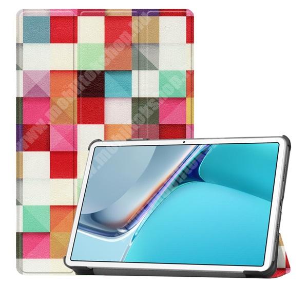 Notesz / mappa tok - SZÍNES NÉGYZET MINTÁS - oldalra nyíló flip cover, TRIFOLD asztali tartó funkció, mágneses záródás, műanyag belső - HUAWEI MatePad 11 (2021)