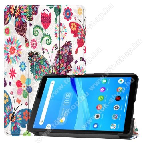 Notesz / mappa tok - SZÍNES VIRÁG, LEPKE MINTÁS - oldalra nyíló flip cover, TRIFOLD asztali tartó funkciós, erősített sarkok, mágneses záródás, műanyag belső - Lenovo Tab M7 (TB-7305F)