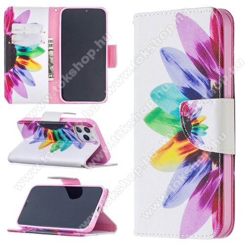 Notesz / mappa tok - SZÍNES VIRÁG MINTÁS - oldalra nyíló, rejtett mágneses záródás, belső zseb, asztali tartó funkció, szilikon belső - APPLE iPhone 12 / APPLE iPhone 12 Pro