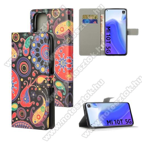 Notesz / mappa tok - SZÍNES VIRÁG MINTÁS - oldalra nyíló, rejtett mágneses záródás, belső zseb, asztali tartó funkció, szilikon belső - Xiaomi Mi 10T 5G / Mi 10T Pro 5G / Redmi K30S