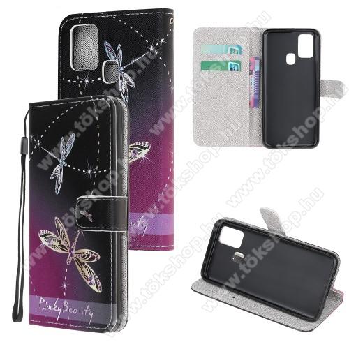 Notesz / mappa tok - SZITAKÖTŐ MINTÁS - oldalra nyíló, rejtett mágneses záródás, belső zseb, asztali tartó funkció, szilikon belső - SAMSUNG Galaxy A21s (SM-A217F/DS)