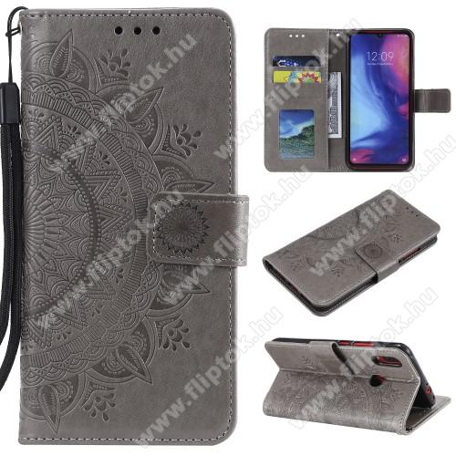 Notesz / mappa tok - SZÜRKE - MANDALA MINTÁS - oldalra nyíló, rejtett mágneses záródás, belső zseb, asztali tartó funkció, szilikon belső - Xiaomi Redmi Note 7 / Xiaomi Redmi Note 7 Pro / Xiaomi Redmi Note 7S