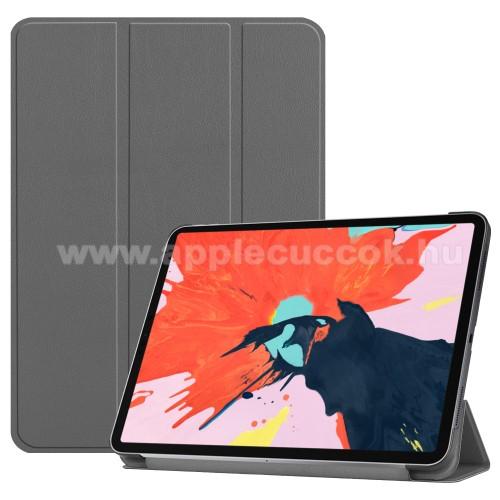 Notesz / mappa tok - SZÜRKE - oldalra nyíló flip cover, TRIFOLD asztali tartó funkciós, mágneses záródás - APPLE iPad Pro 12.9 (2018)