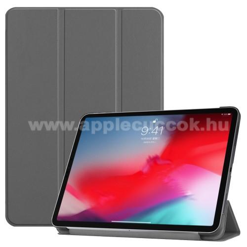 Notesz / mappa tok - SZÜRKE - oldalra nyíló flip cover, TRIFOLD asztali tartó funkciós, mágneses záródás - APPLE iPad Pro 11 (2018)