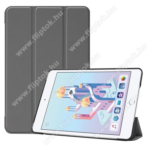 Notesz / mappa tok - SZÜRKE - oldalra nyíló flip cover, TRIFOLD asztali tartó funkciós, mágneses záródás, műanyag belső - Apple iPad mini (2019)
