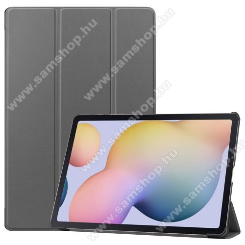 SAMSUNG Galaxy Tab S7 Plus (SM-T970/T976B)Notesz / mappa tok - SZÜRKE - oldalra nyíló flip cover, TRIFOLD asztali tartó funkciós, erősített sarkok, műanyag belső - SAMSUNG Galaxy Tab S7 Plus (SM-T970/T976B)
