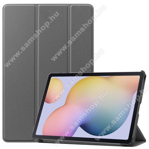 SAMSUNG Galaxy Tab S7 (SM-T870/T875/T876B)Notesz / mappa tok - SZÜRKE - oldalra nyíló flip cover, TRIFOLD asztali tartó funkciós, erősített sarkok, műanyag belső - SAMSUNG Galaxy Tab S7 (SM-T870/T875/T876B)