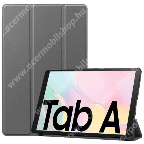 Notesz / mappa tok - SZÜRKE - oldalra nyíló flip cover, TRIFOLD asztali tartó funkciós, mágneses záródás, műanyag belső - SAMSUNG Galaxy Tab A7 10.4 (2020) (SM-T500/SM-T505)
